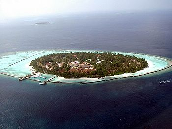 An island in the Maldives fringed by coral.