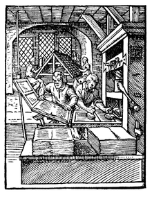 Johannes Gutenberg downloads the Bible to his prototype Kindle.