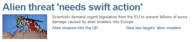 "BBC headline: Alien threat ""needs swift action"""